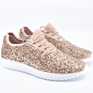 Sparkly Glitter Rose Gold Lace Up Sneakers